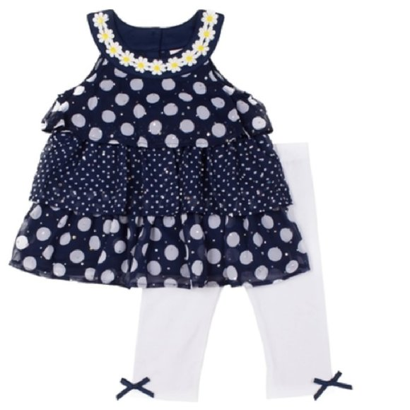 Little Lass Other - 2 pc. Printed Chiffon w/ Disco Dots Skimmer Set 2T